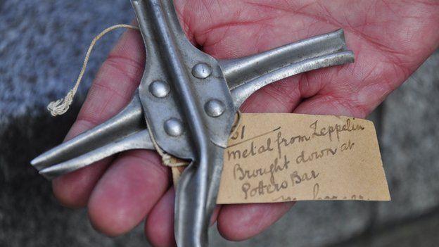 Metal from a Zeppelin shot down