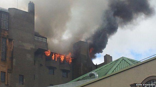 Flames on art school