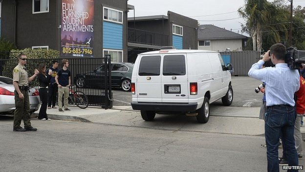 Police van at apartment complex where Elliot Rodger lived. 24 May 2014
