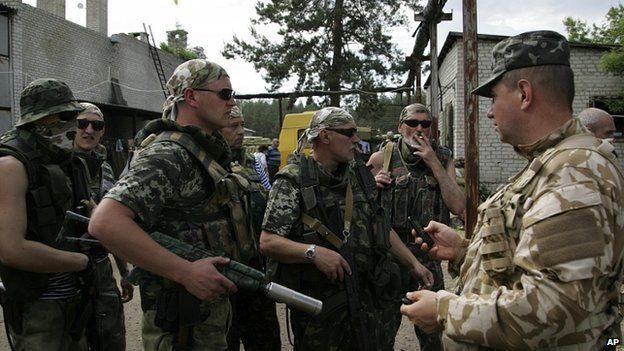 Members of Ukrainian national guard at base in Starobelsk, Luhansk region, eastern Ukraine. 25 May 2014