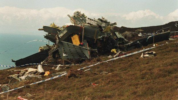 The scene of the Chinook helicopter crash in June 1994