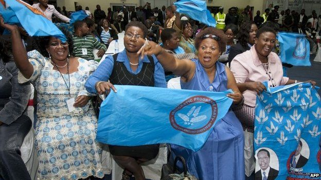 Democratic Progressive Party supporters celebrate after their leader, Peter Mutharika, was announced as the new President of Malawi by the Malawian Electoral Commission on 30 May 2014 in Blantyre, Malawi