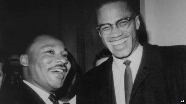 Martin Luther King (Left) and Malcolm X, head of a new group known as Muslim Mosque, Inc., smile for photographers March 26th 1964
