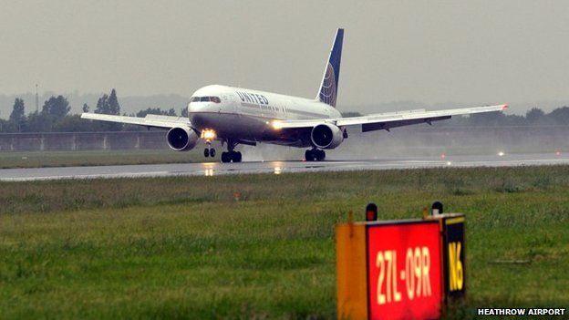 The first flight lands at Heathrow Terminal 2
