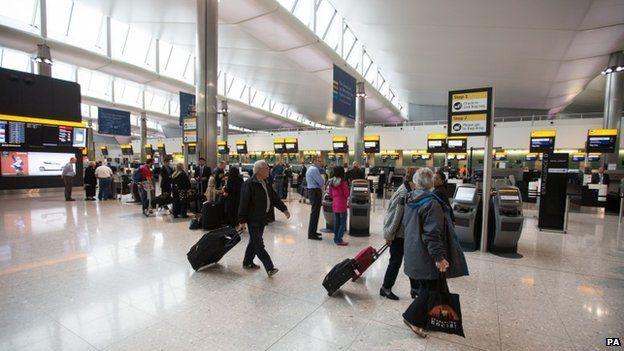 Passengers at Heathrow Terminal 2