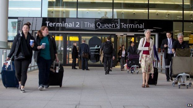 Passengers arrive at the new Terminal 2