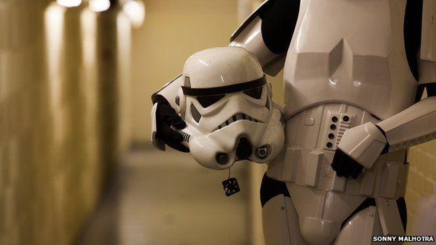 Stormtrooper with his helmet off