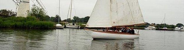 Sailing boat on Norfolk Broads