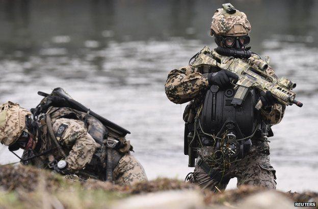 German special forces at a display in Eckernfoerde, Schleswig-Holstein, 5 April