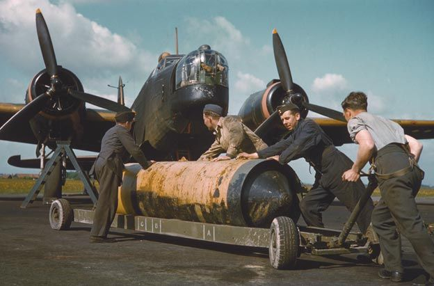 A British bomber being loaded