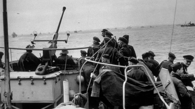 British troops on their way to Normandy to take part in the D-Day landings on June 6, 1944