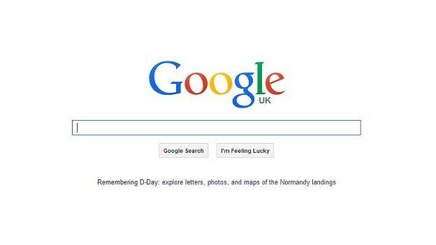 Screen grab of Google UK homepage
