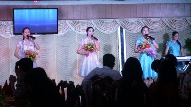 Singers perform at the Pyongyang restaurant in Phnom Penh