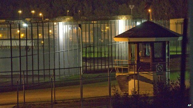 The prison yard in front of the Orsainville Detention Center is seen near Quebec City on Saturday, June 7, 2014.