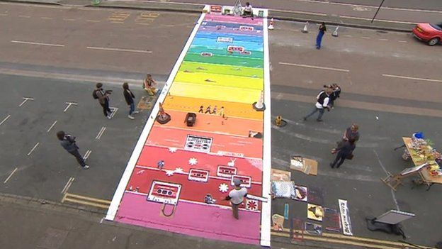 Aerial view of the rainbow crossing
