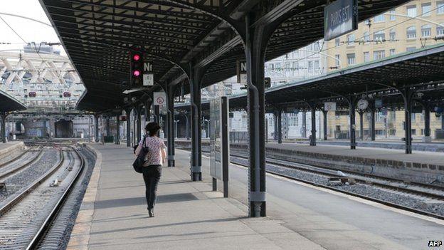 Woman on platform at Gare de L'Est in Paris (11 June)