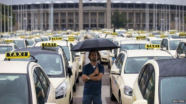 Taxi protest in front of the Olympic stadium in Berlin. 11 June 2014