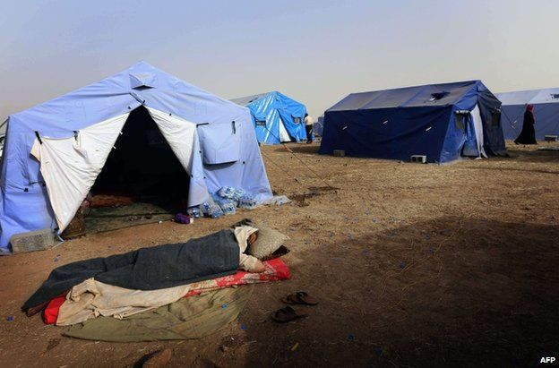 Tents prepared for refugees in Iraq's Kurdish province of Irbil, 12 June