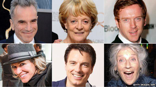 (clockwise) Daniel Day-Lewis, Maggie Smith, Damian Lewis, Phyllida Law, John Barrowman, Cerys Matthew