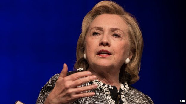 Former US Secretary of State Hillary Clinton appeared in Washington on 13 June 2014