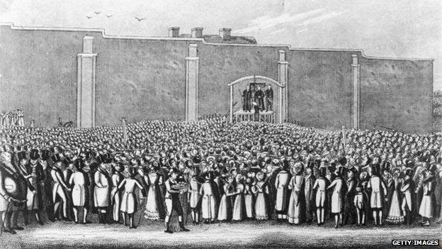 English murderer William Corder (1803 - 1828), is executed at the gallows in Bury St. Edmunds, Suffolk, 11th August 1828