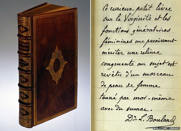 A 16th century text on virginity that was rebound in human skin in the 19th century, with a close up of a page of French writing