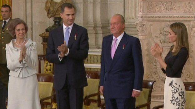 Queen Sofia with Prince Felipe, Juan Carlos and Princess Letizia