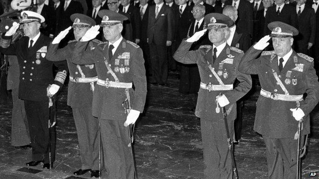 Leaders of 12 September military coup, from left to right, Adm. Nejat Tumer, Gen. Nurettin Ersin, Gen. Kenan Evren, Gen. Tahsin Sahinkaya and Gen. Sedat Celasun, taken 29 October 1980