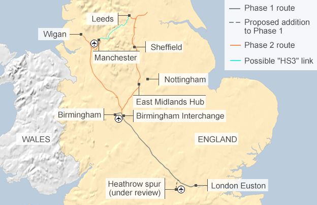 Map of HS2 with additional possible HS3 link