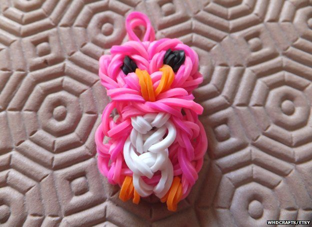 Pink owl made from loom bands