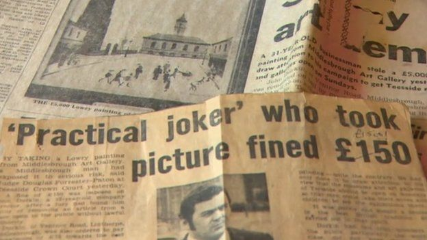 Newspaper reports of John Durkin's theft of the Lowry painting