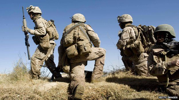 US Marines of 2nd Battalion 2 Marines of 2nd Marine Expeditionary Brigade take positions in Helmand 25 November 2009
