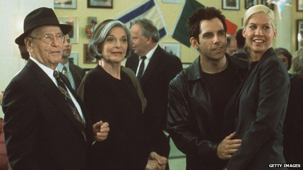 Eli Wallach with (l to r) Anne Bancroft, Ben Stiller and Jenna Elfman in Keeping the Faith
