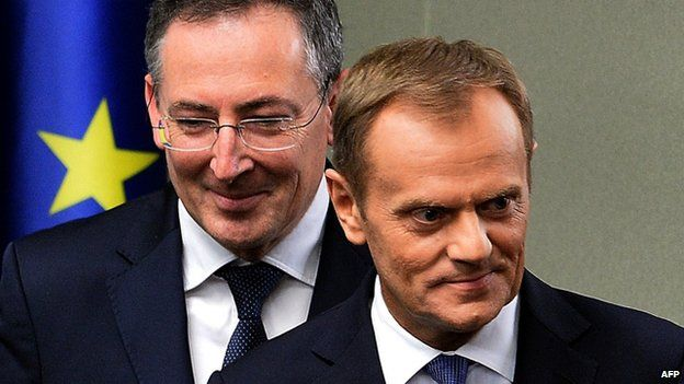 Polish PM Donald Tusk and Interior Minister Bartlomiej Sienkiewicz in parliament. 25 June 2014