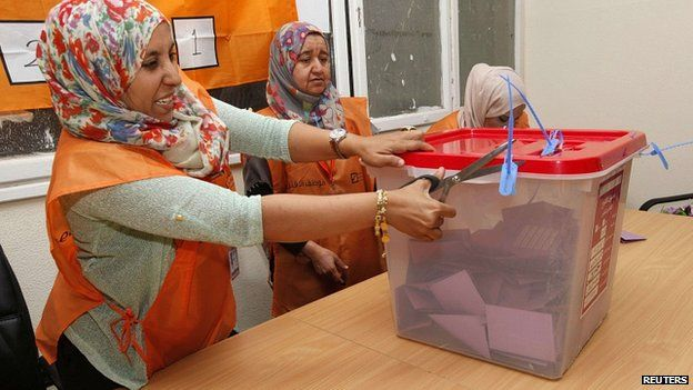Polling station closes in Tripoli. 25 June 2014