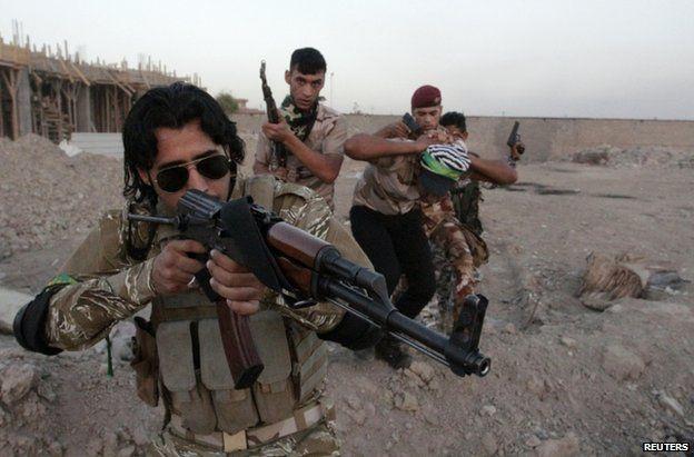 Shia Muslim volunteers in military training in Basra, Iraq, 25 June