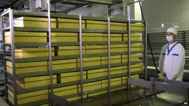 Cheese being made at a plant north of Kiev