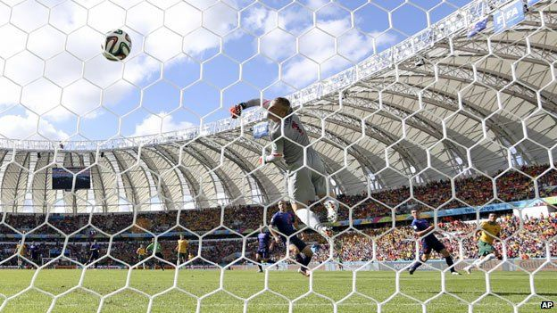 Tim Cahill scores for Australia against the Netherlands