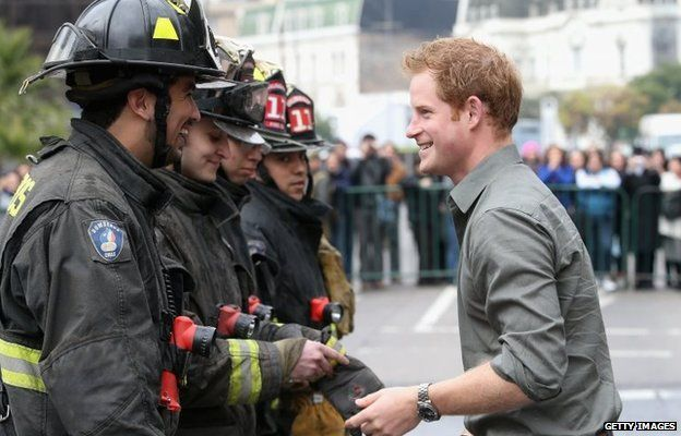 Prince Harry meets Firefighters at Valparaiso fire station