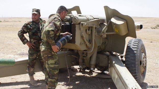 Kurdish artillery in clash with Isis, 29 Jun 14