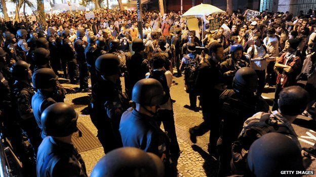 Demonstrators have taken to the streets of Rio, protesting against rising consumer prices
