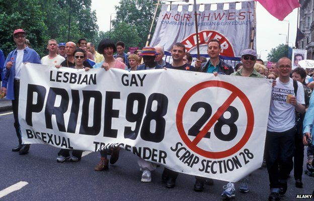 Gay Pride 1998 - people holding banner calling for repeal of Section 28