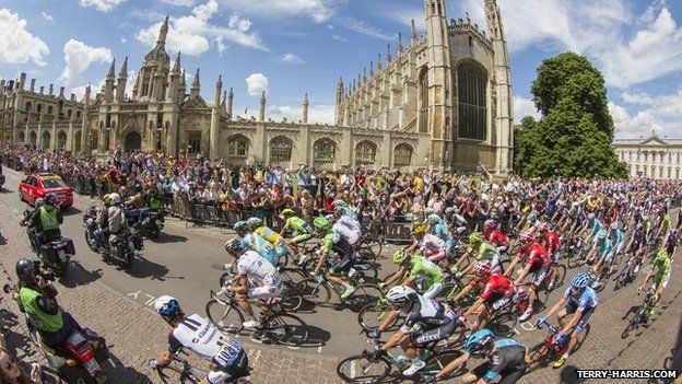 Tour de France riders in front of King's College, Cambridge