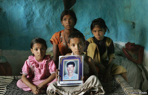 The family of an Indian farmer who killed himself