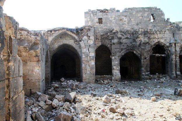 Krak des Chevaliers after bombardment