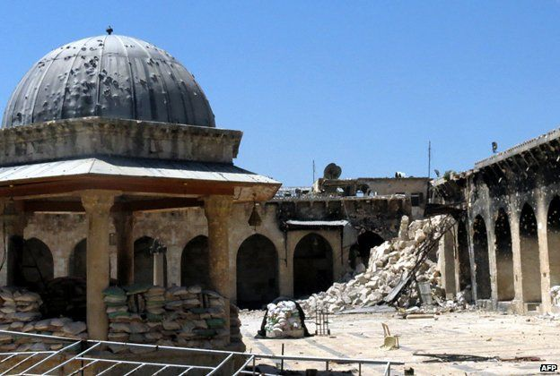 Aleppo Great Mosque - the minaret has been reduced to rubble
