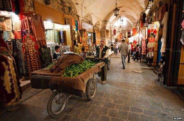 Aleppo souk before it was destroyed