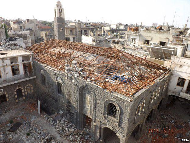 Homs Umm Zinnar Church - damaged
