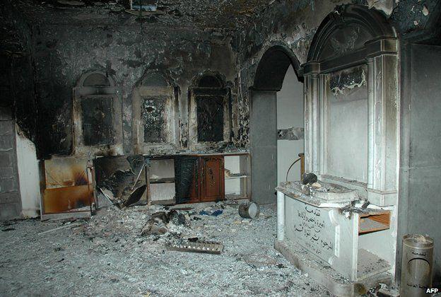 The damaged interior of Homs Umm Zinnar Church