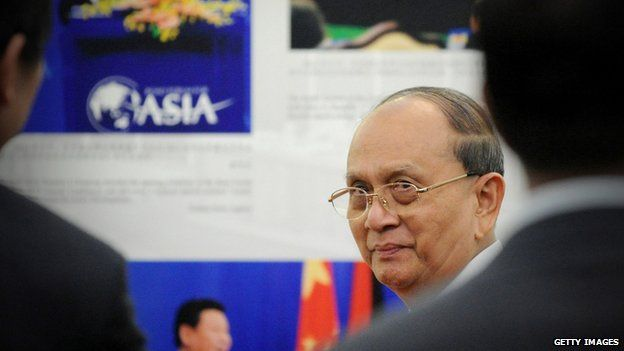 Myanmar President Thein Sein visits a photo exhibition marking the 60th Anniversary of the 'Five Principles of Peaceful Coexistence' at Diaoyutai State Guesthouse on 29 June 2014 in Beijing, China.